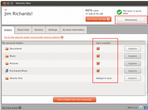Checking synchronisation and disconnection from Ubuntu One