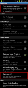 Auto backup options for Google Photos