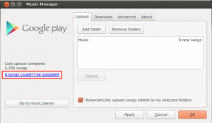 Google Play Music with warnings